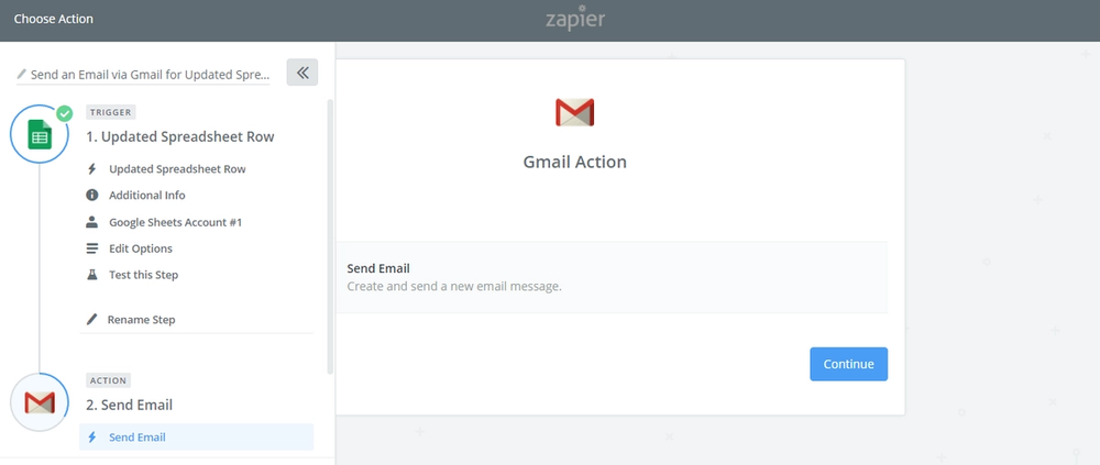 Select Gmail as the action app