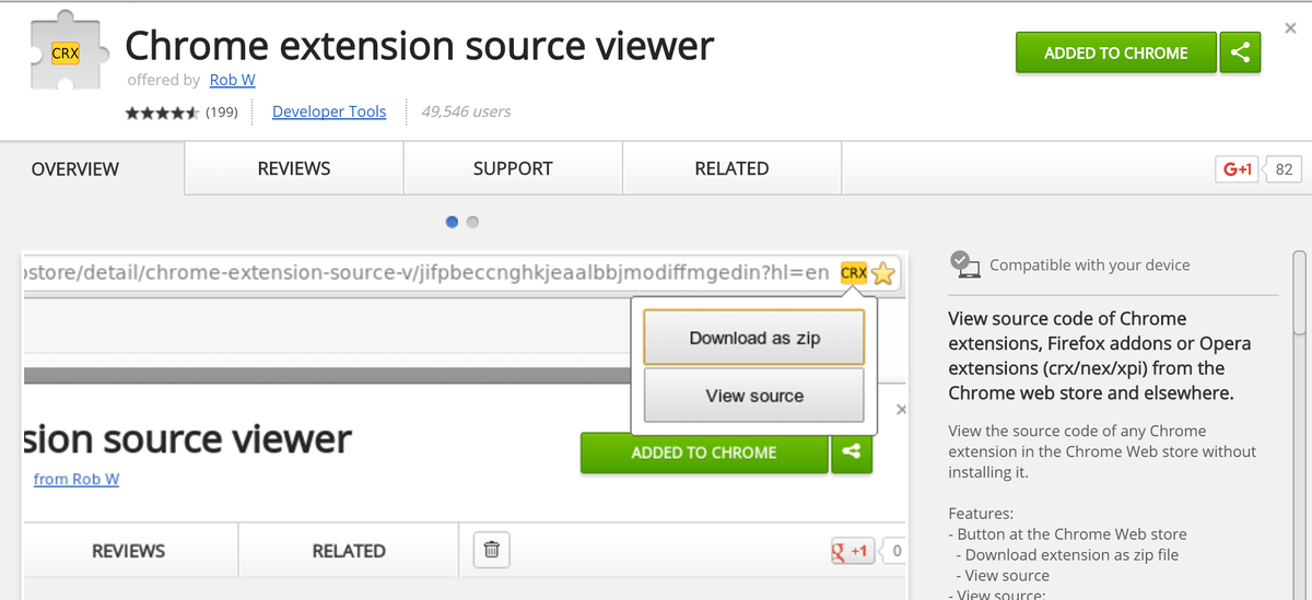 Adding Chrome Extension Source Viewer to Chrome browser