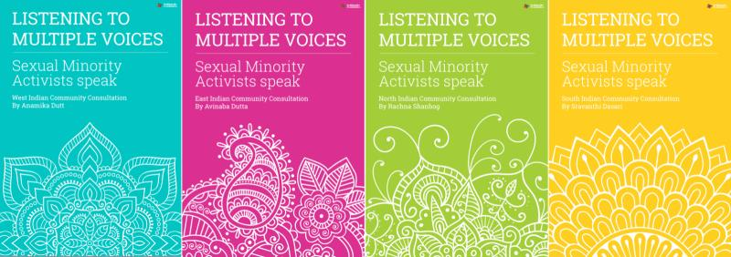 Covers of reports of the consultations held in North, South, West and East India