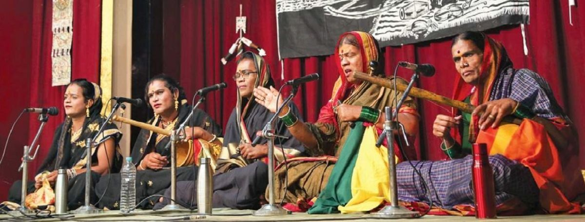 A group of Jogappas on performing on a stage in Chennai in 2018