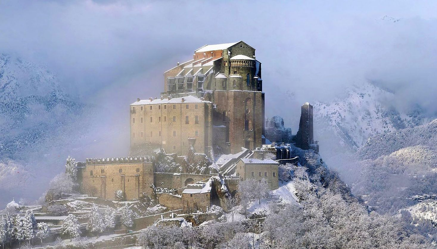 The Sacra di San Michele, is a religious complex on Mount Pirchiriano, situated on the south side of the Val di Susa overlooking the villages of Avigliana and Chiusa di San Michele. The abbey, which for much of its history came under Benedictine rule, is now entrusted to the Rosminians.
