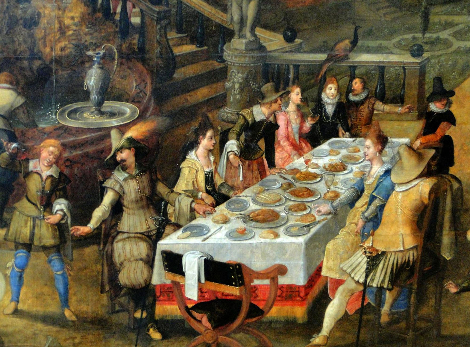 Most large feasts in the Renaissance had cooked swan and salmon. After the meal, hands were washed in a pool of lemon scented water. Spoons were used for soups, knives for meat and hands for everything else. Certain fingers were raised during dishes to allow clean fingers for the next dish.