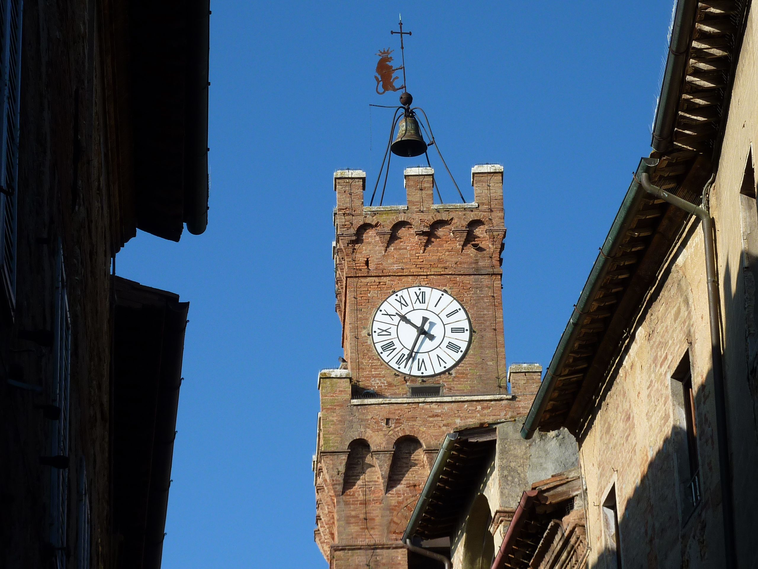 The Clock-tower of the Town-hall of Pienza