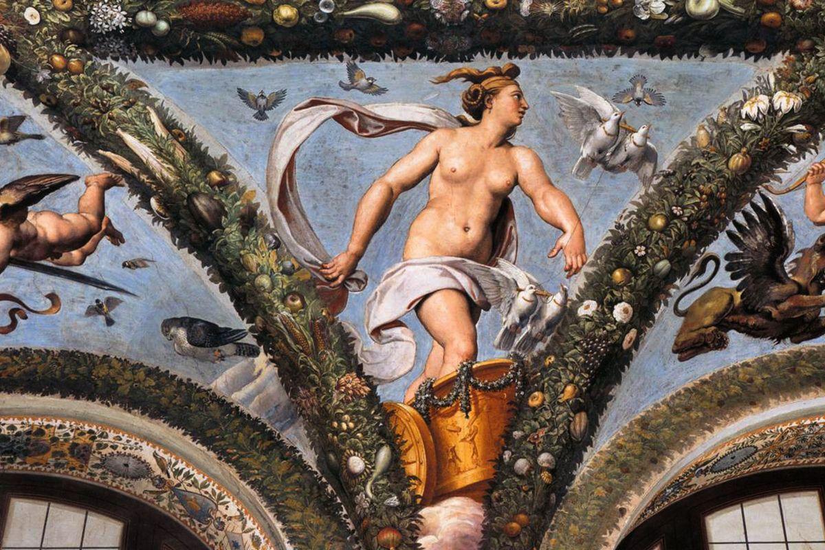 Venus on the Chariot Pulled by Doves (1517-18) Fresco Villa Farnesina, Rome