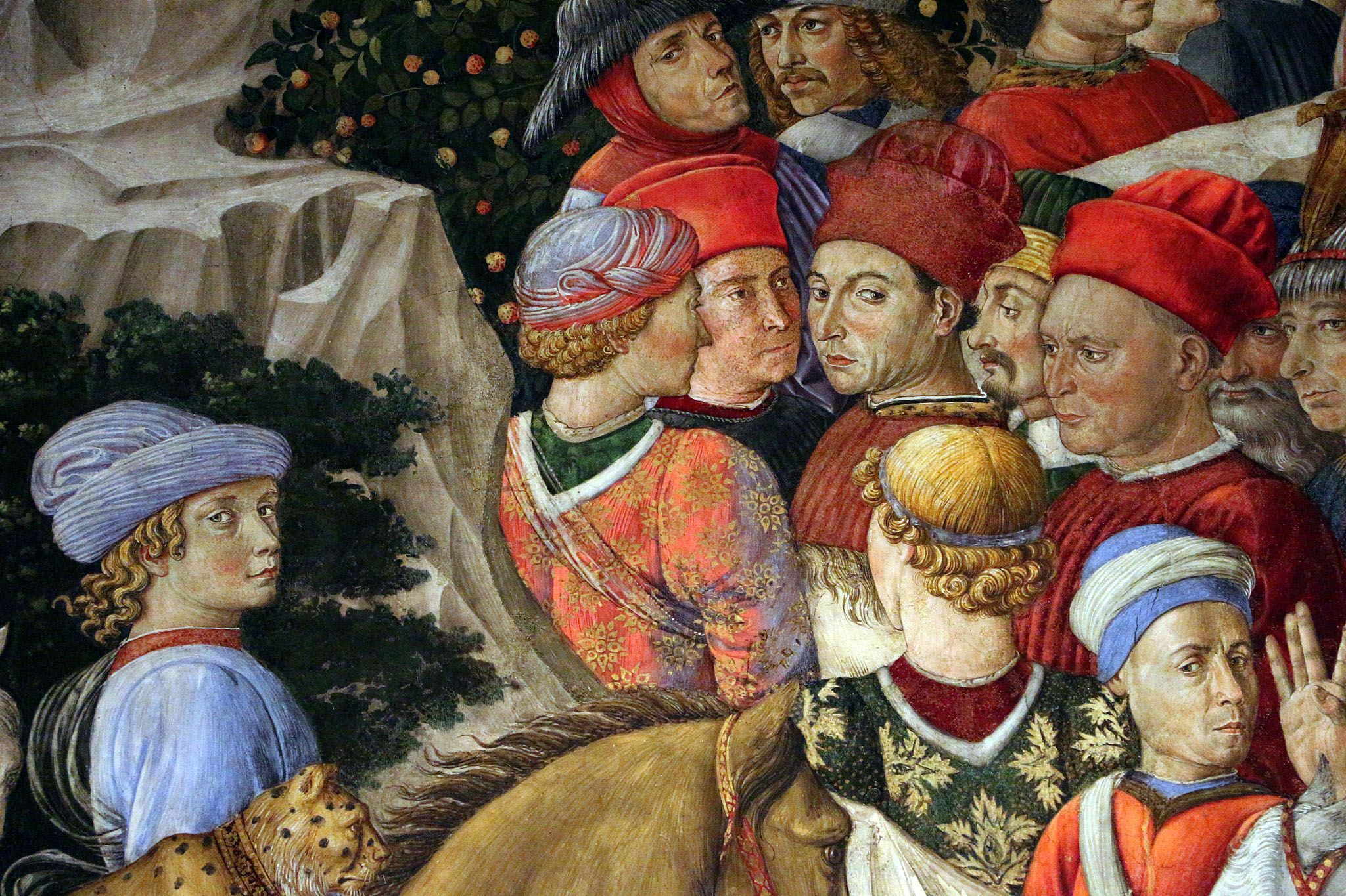 A detail of the famous fresco by Benozzo Gozzoli in the Palazzo Medici Riccardi in Florence portrays many fine garments worn in the Renaissance by aristocrats.