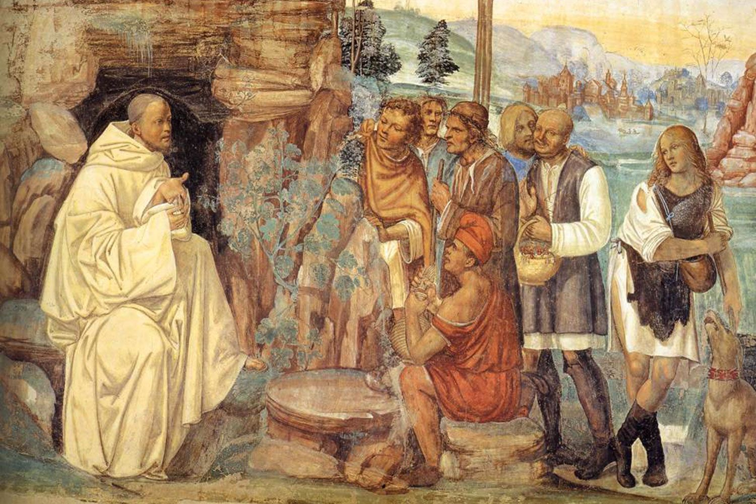 """Sodoma's fresco cycle of the Life of St Benedict. Detail of Scene 7: """"Benedict Instructs the Peasants"""" (1505-08). In the Abbey of Monteoliveto Maggiore near Siena."""