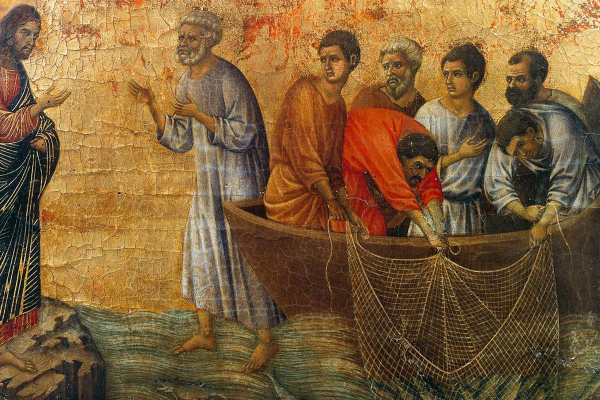 Appearance of Christ on Lake Tiberias. (Panel on the back of the The Maestà)