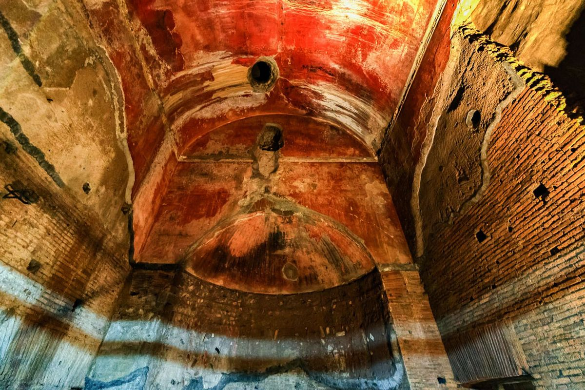 A giant barrel vault in the underground ruins of Nero's Golden House.