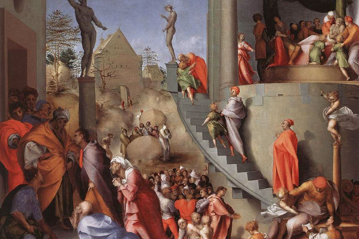 Joseph in Egypt 1518 by Pontormo in National Gallery in London
