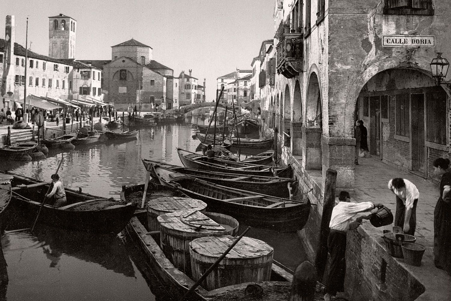 Early 19th century photo of delivery boats in Venice