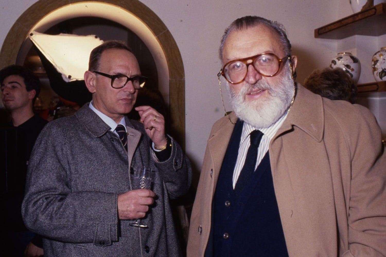 The great Italian director Sergio Leone with the equally great Italian composer Ennio Morricone