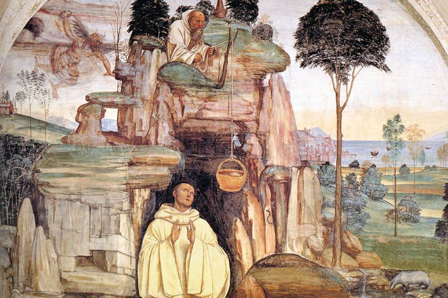 Sodoma's fresco cycle of the Life of St Benedict, Scene 5: The Devil Destroys the Little Bell (1505-08). Located in the Abbey of Monteoliveto Maggiore near Siena.
