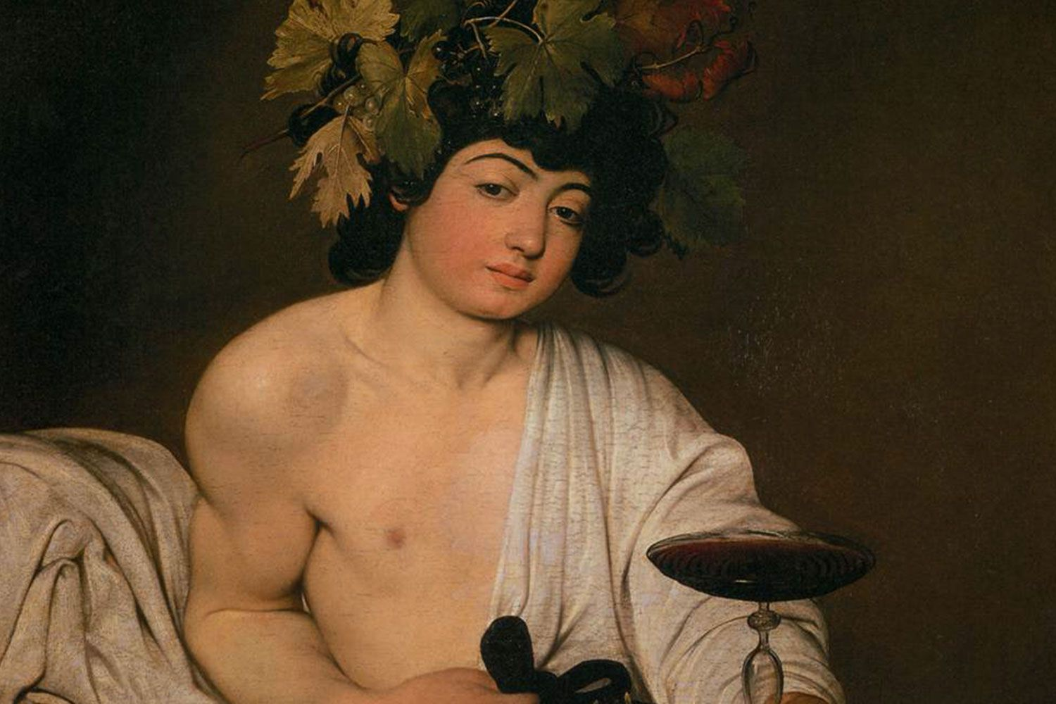 Detail of Bacchus by Caravaggio (1596) Uffizi Gallery Florence