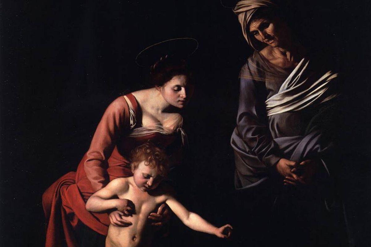 "Detail Caravaggio's ""Madonna dei Palafrenieri"" (1606) hanging in the Borghese Gallery in Rome"