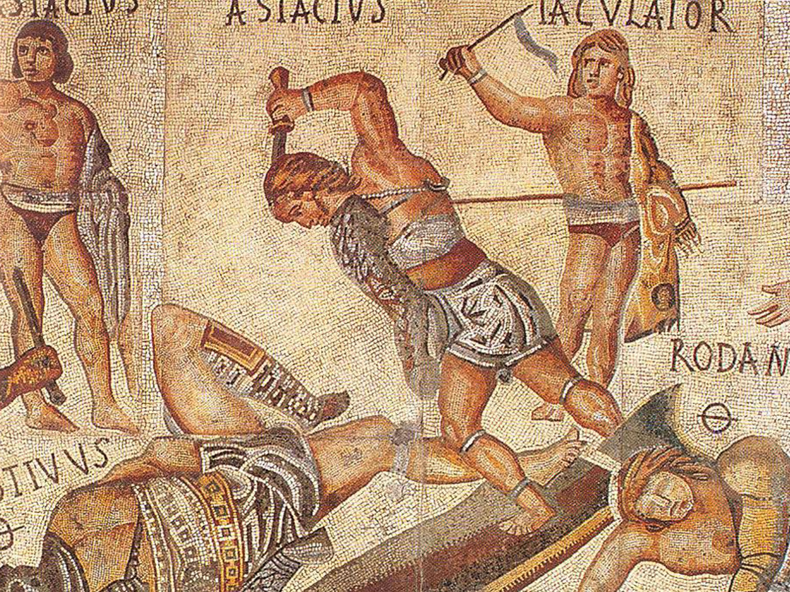 Second century AD mosaic of famed gladiators that filled the arena with blood