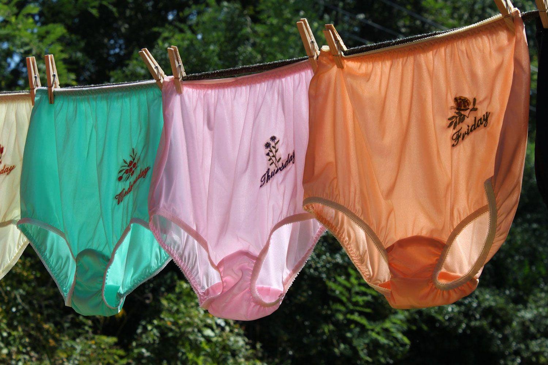 Co-ordinated underwear in weekly packs; very practical, and very sensible.