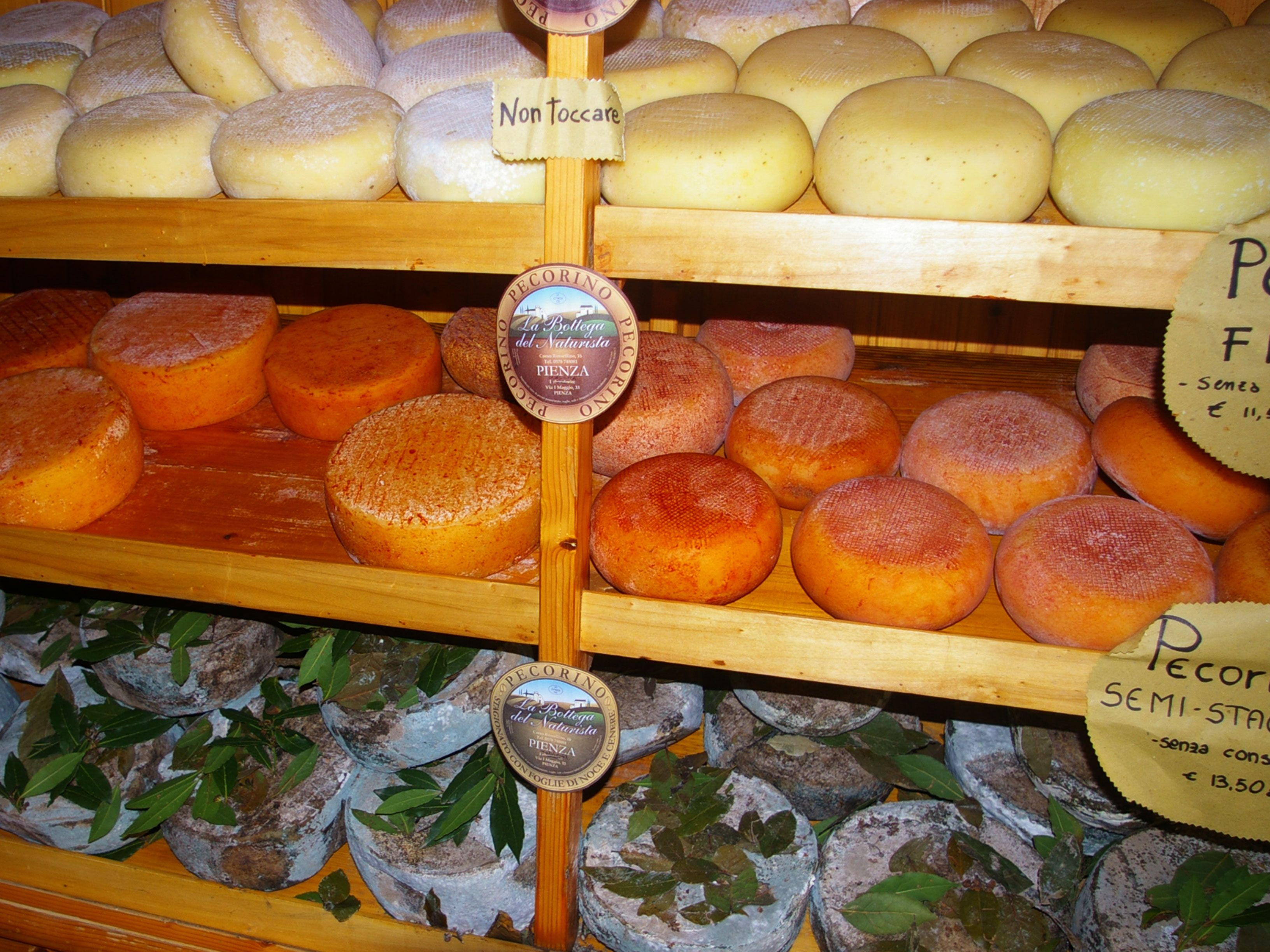 The famous and delicious pecorino cheese of Pienza