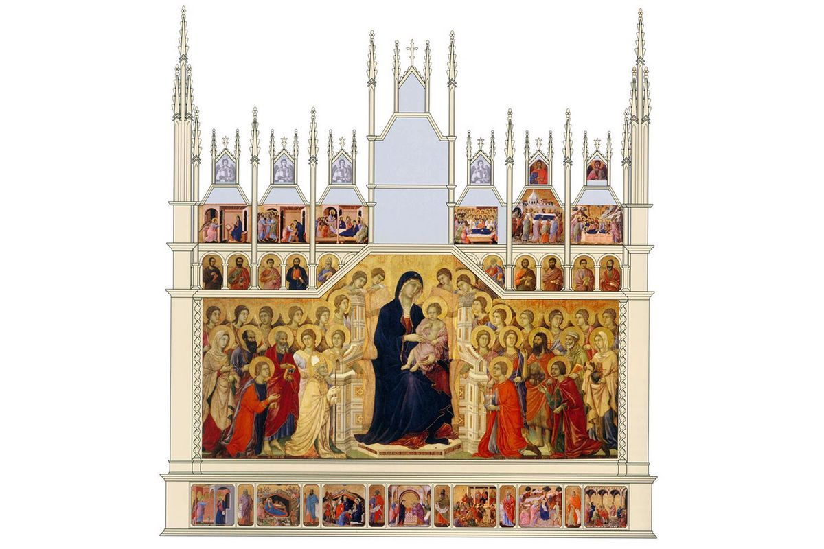 A digitized reconstruction of panels of the front of The Maestà.
