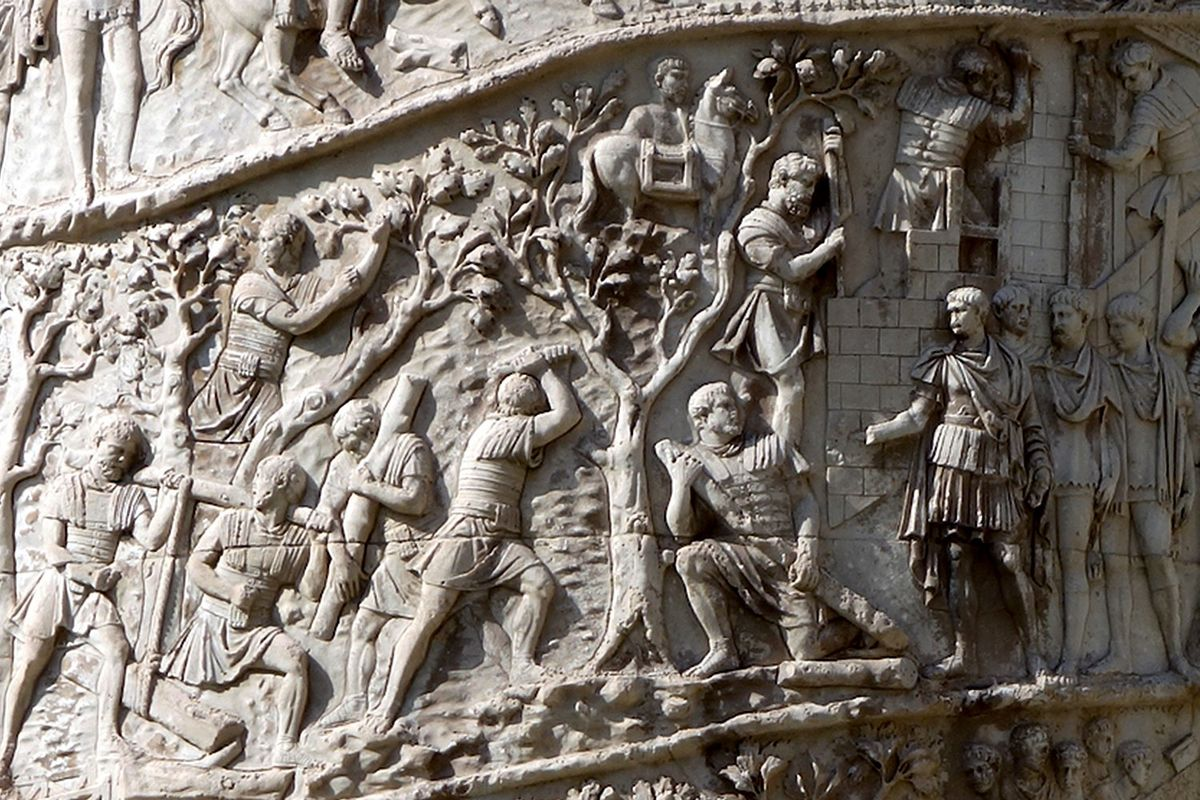 Carved in relief the column portrays Trajan's two victorious military campaigns against the Dacians.