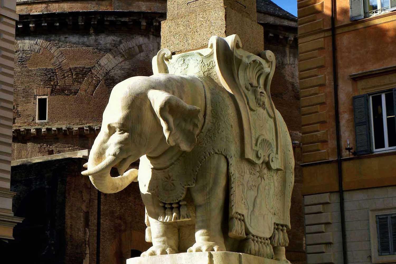 The Elephant on an obelisk in Piazza della Minerva in Rome