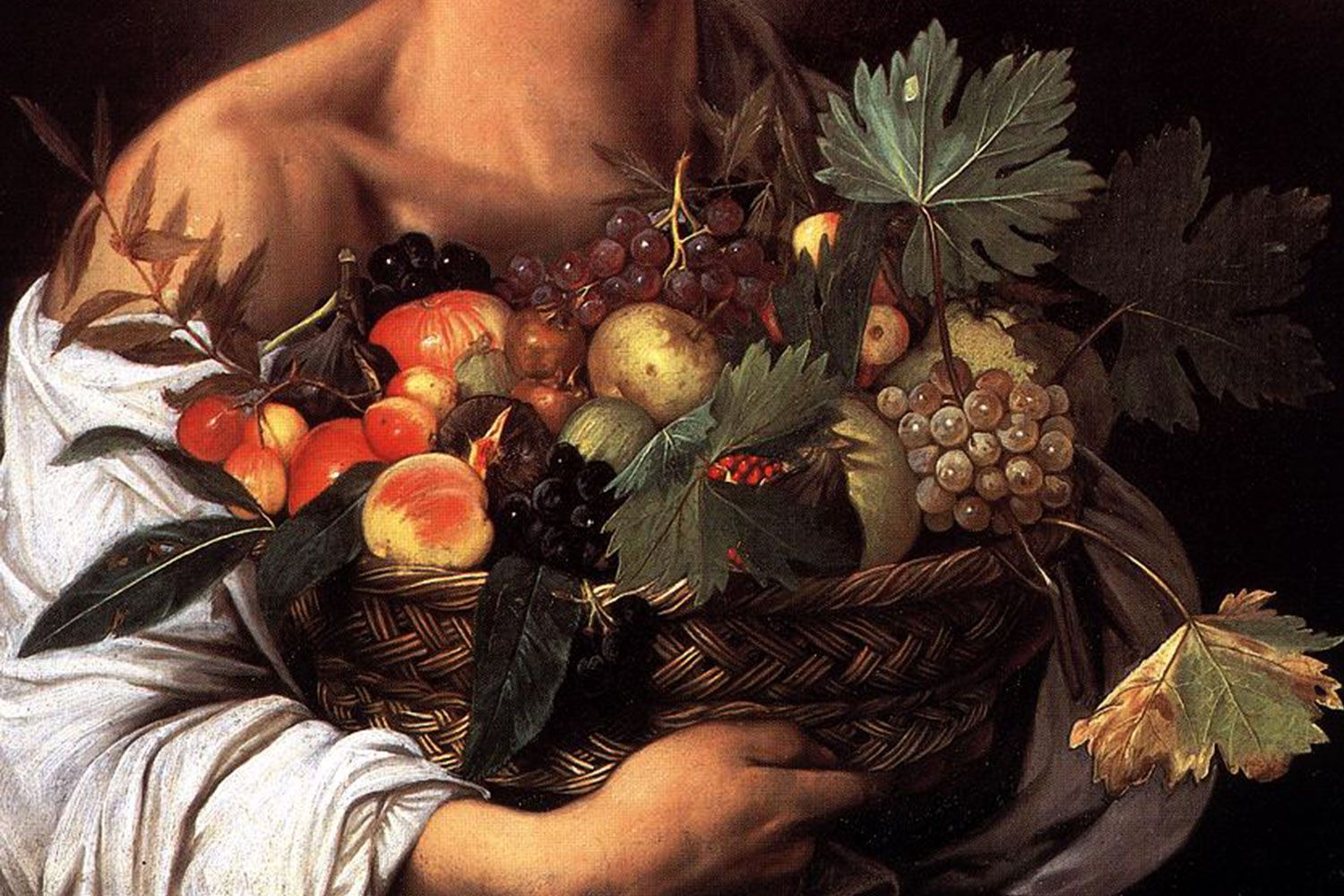 """A detail of Caravaggio's """"Boy with a Basket of Fruit"""" (1593) Hanging in the Galleria Borghese in Rome"""
