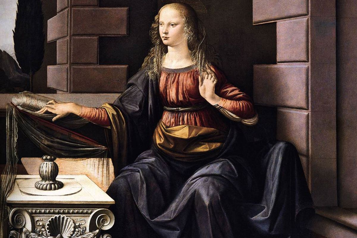"""The """"Annunciation"""" (of the very long arms) by Leonardo da Vinci in the Uffizi Gallery in Florence."""