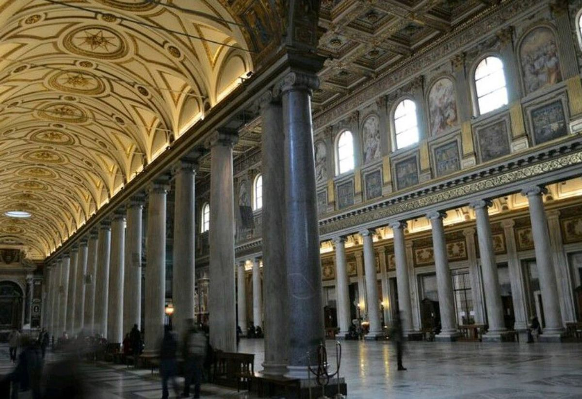 The main nave of Santa Maria Maggiore in Rome, founded in the 4th century AD.