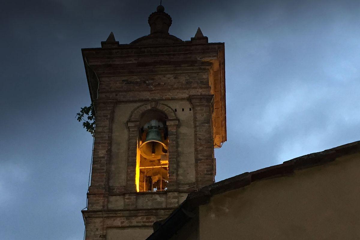 Night falling over Castelmuzio in Tuscany.