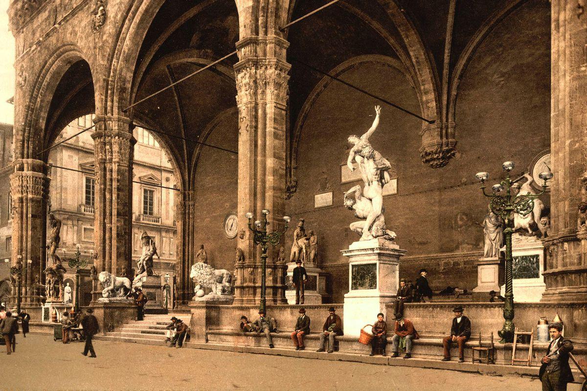 Loggia dei Lanzi in Piazza della Signoria, Florence between 1890 and 1900