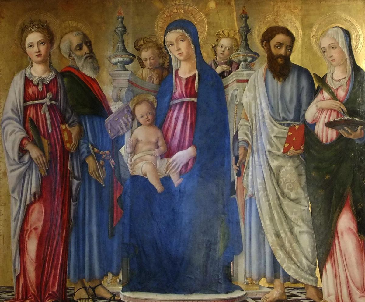 Matteo di Giovanni (1435–1495), The Madonna with S. Caterina, S. Matteo, S. Bartolomeo, and S.Lucia in the Duomo in Pienza