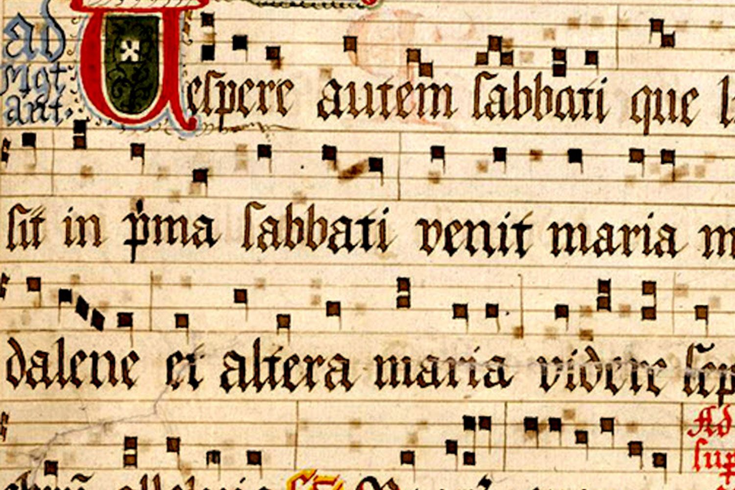 Neumes on a four-line staff invented by Guido