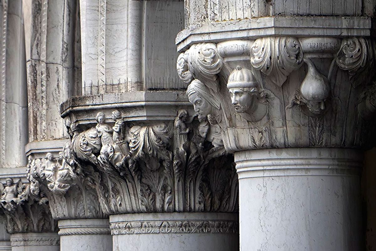Venetian History carved in the Column Capitals of the Palace of the Doge