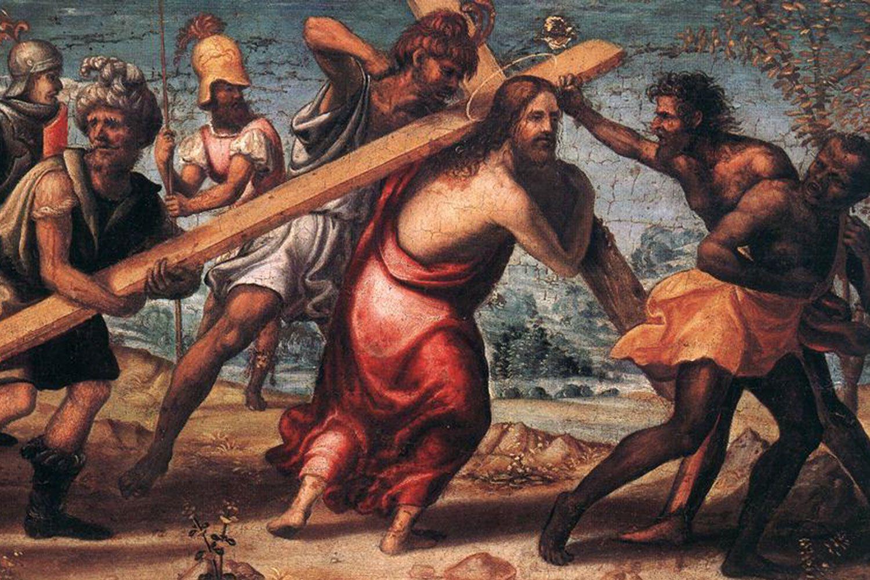 "Sodoma's ""The Road to Calvary"" (c.1510) Oil on wood, 36,5 x 62 cm. Hanging in the  Szépmûvészeti Múzeum in Budapest"