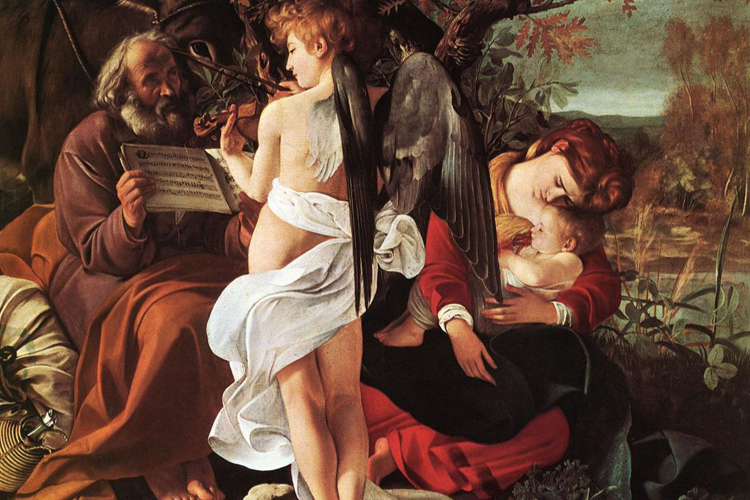 Rest on the Flight into Egypt by Caravaggio (1597). Hanging in the Doria Pamphili Gallery in Rome