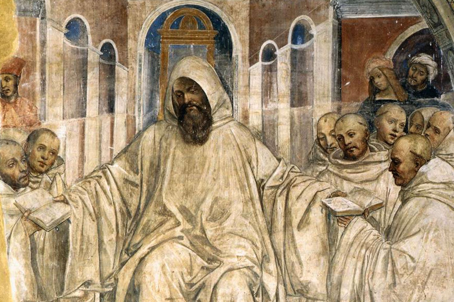 Sodoma's fresco Benedict Presents the Olivetan Monks with His Rule (1505-08). Located in the main cloister of the Abbey Monteoliveto Maggiore near Siena.