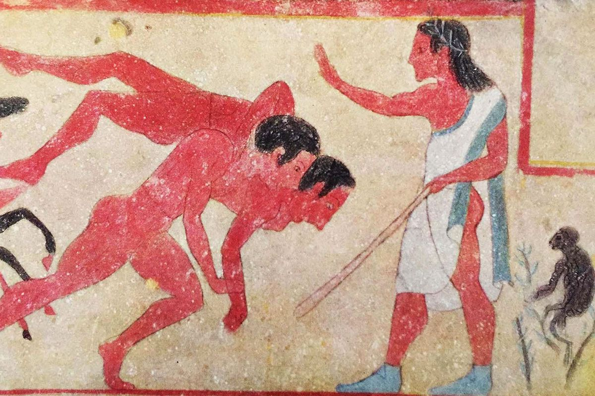"""Detail of a fresco from the """"Tomb of the Monkey"""" (early 500 BC), just outside Chiusi"""