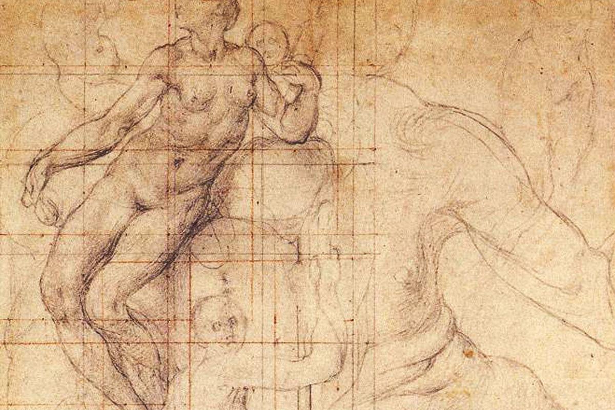 Pontormo drawing circa 1546 Adam and Eve at Work. Uffizi Gallery, Florence