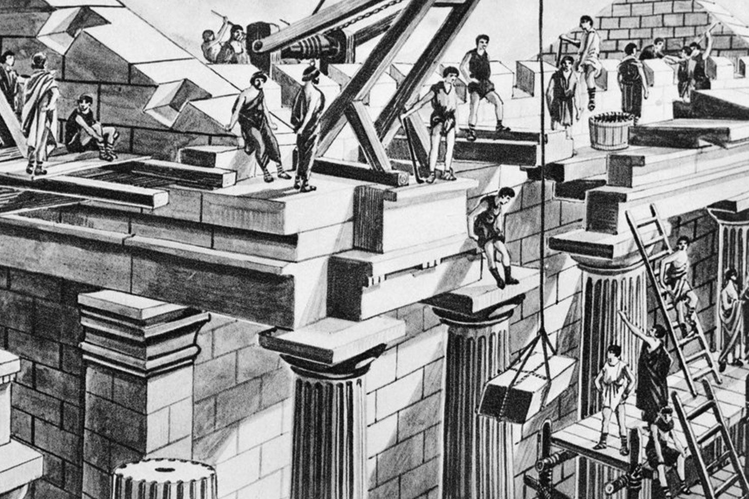 Slaves and cranes helped built Rome
