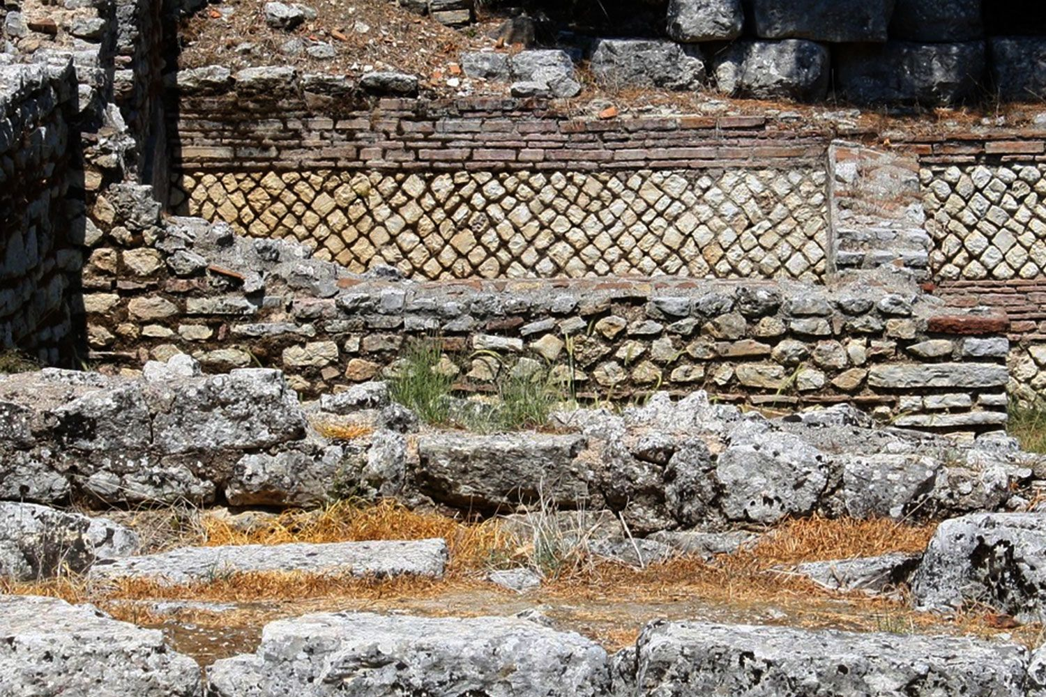 Various Roman bricks used to strengthen this base of a small Temple