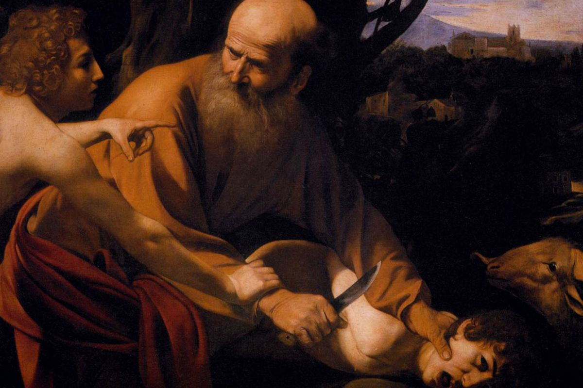 """A detail of Caravaggio's """"The Sacrifice of Isaac"""" (1601-02) showing his skill in painting portraits"""