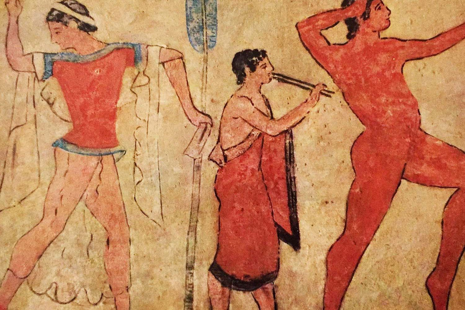 Dancers decorating part of the Tomba dell Colle from the early 6th century BC just outside of Chiusi.