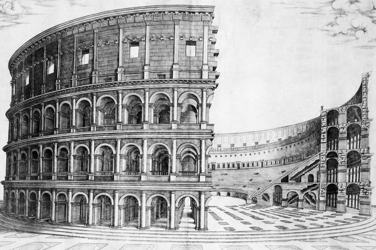 The Colosseum in Rome was begun in 70 AD and opened to the public in 80 AD. It was hailed as one of the wonders of the ancient world and it became the template of all sporting arena design since.