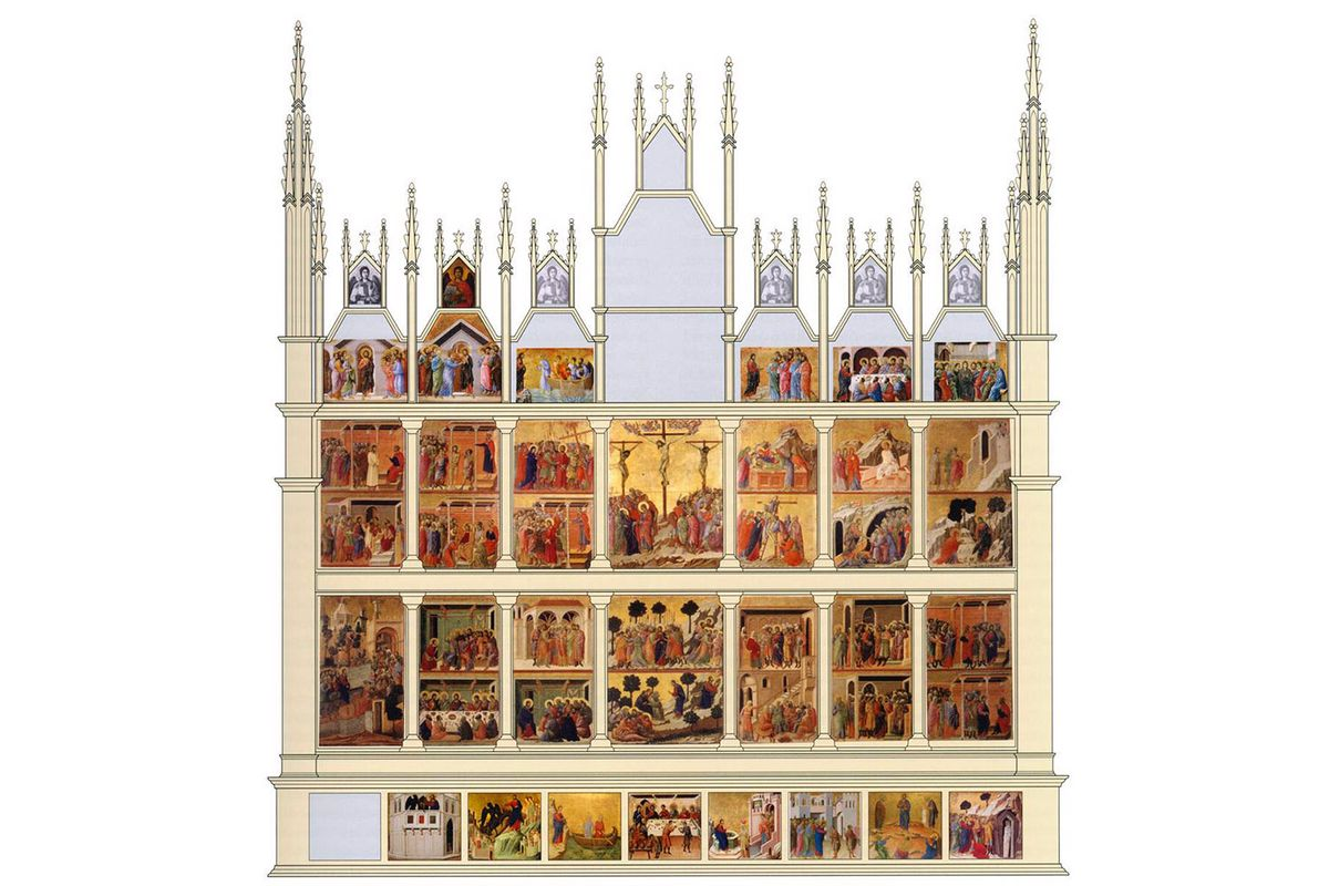 A digitized reconstruction of panels of the back of the Maestà.
