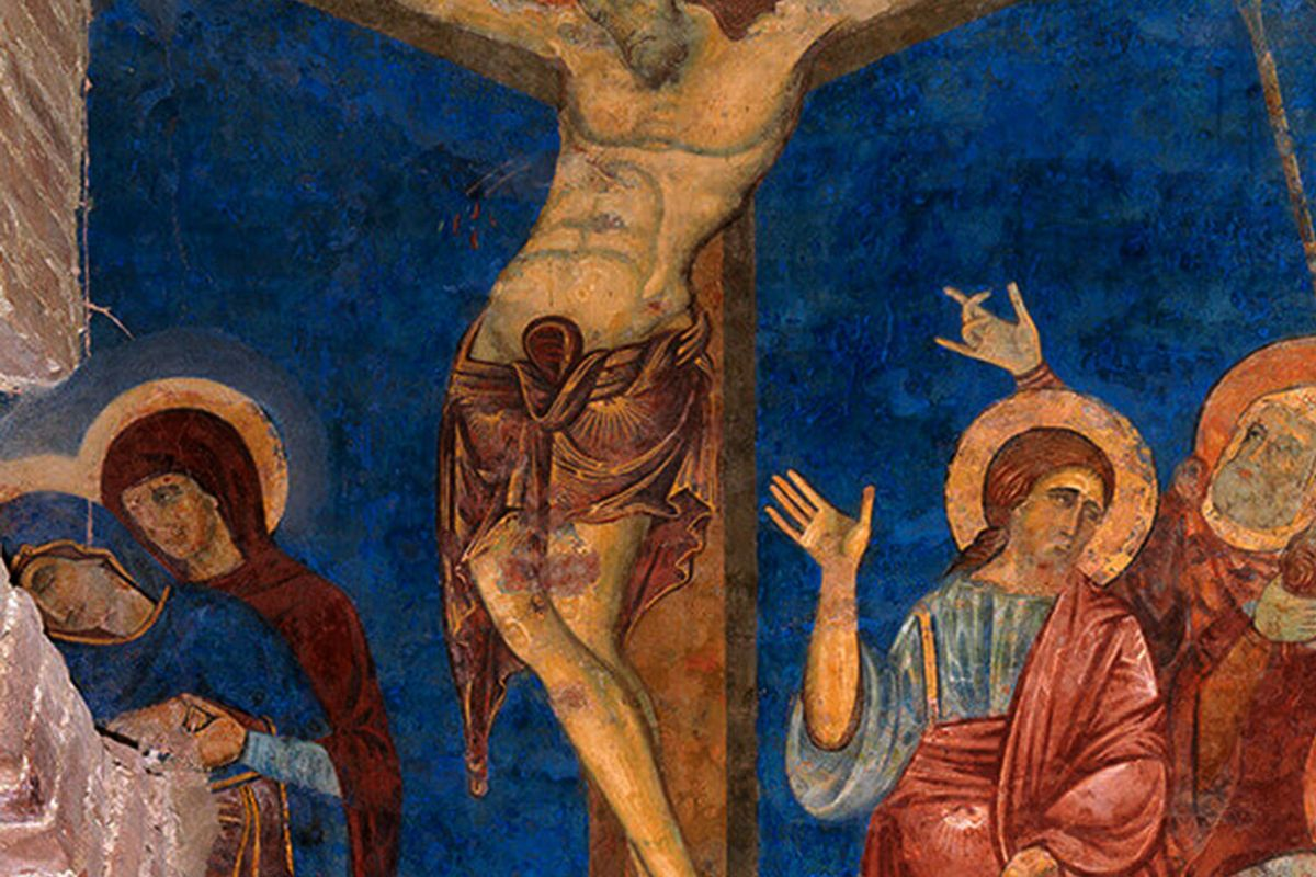 The Crucifixion with the colour remarkably intact