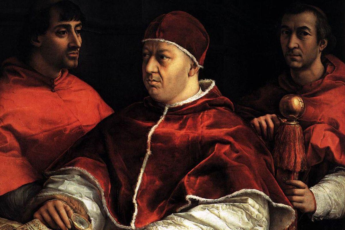 Pope Leo X with Cardinals Giulio de' Medici and Luigi de' Rossi (1518-19) by Raphael