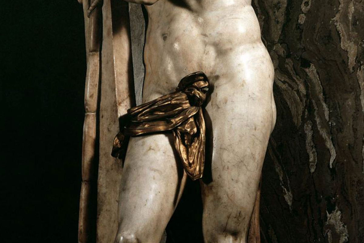 The infamous bronze loincloth carefully placed on the statue to cover the genitals of Jesus. Michelangelo would be furious.