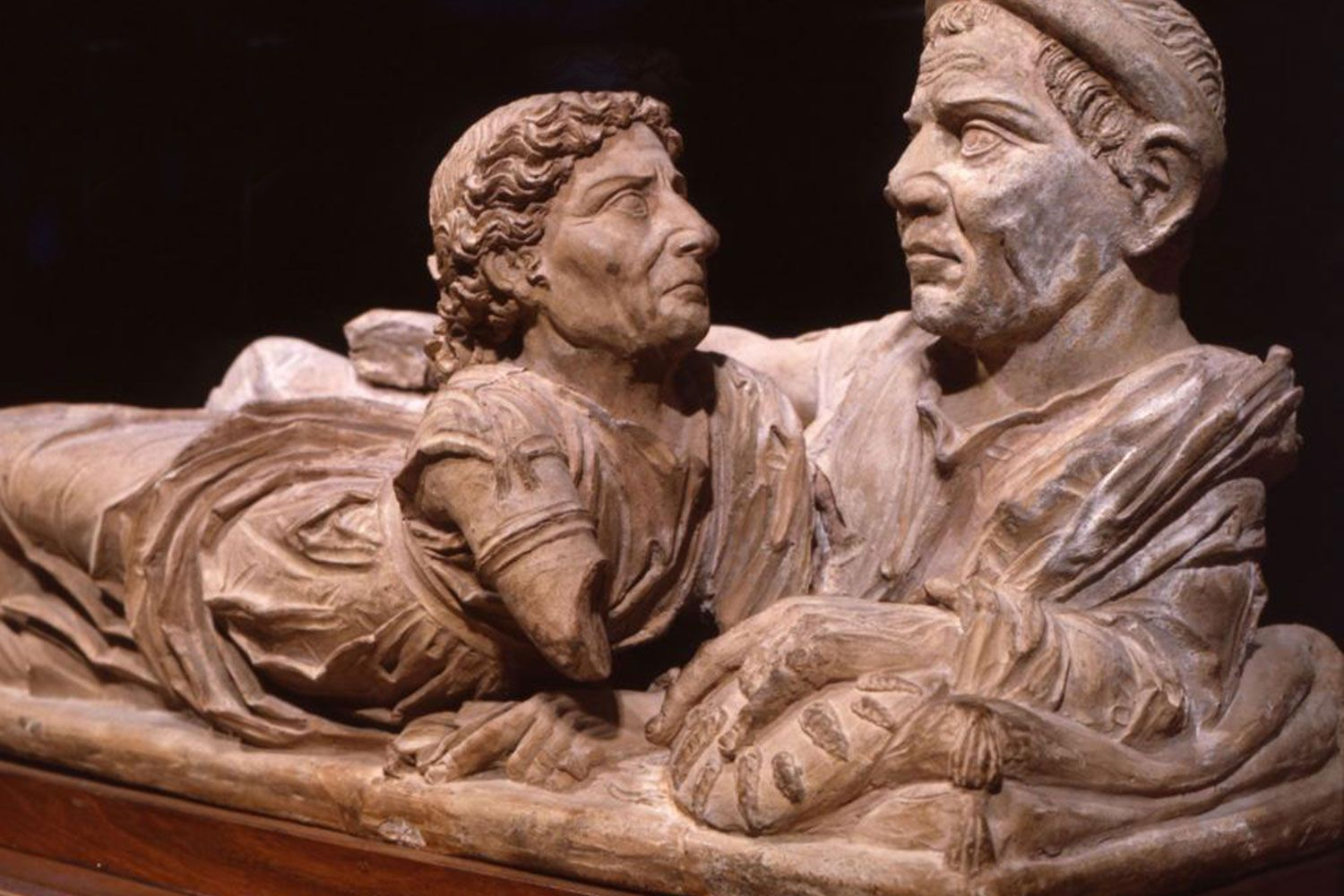 A husband and wife Etruscan funerary urn lid from the late 3rd century BC.