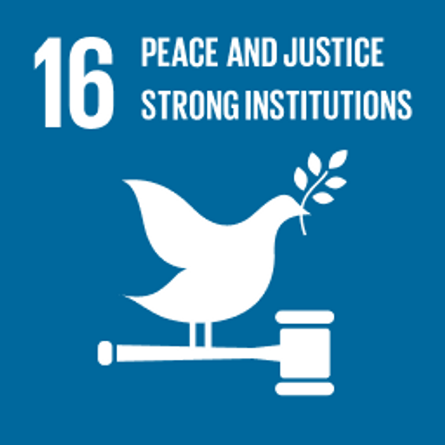 UN Sustainable Development Goals Peace, Justice & Strong Institutions