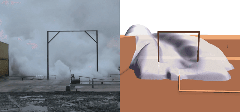Video of fog-plume from Test 5 looking downwind, plow shape of plume from simulation can be seen (video from DNV GL, presented in Teknisk Ukeblad)