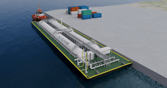 Illustration of a floating bunkering solution developed by Azane Fuel Solutions.